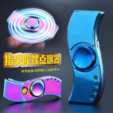 新款个性指尖陀螺JL881金属手指尖带灯款玩具USB陀螺充电打火机批