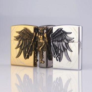 新款亚马逊砂轮明火金属三面贴章个性充气打火机气体创意浮雕礼品