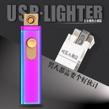 创意个性ZC105双面点USB长条充电打火机广告订制电热丝电子点烟器